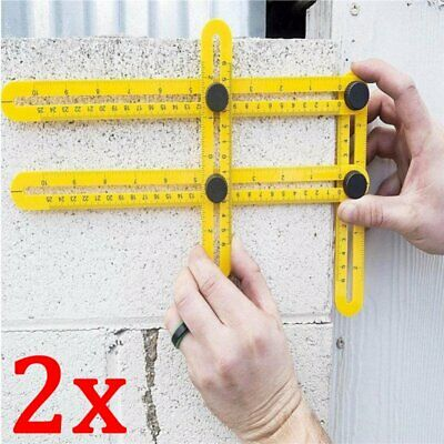 2 pz Righello Metro Misuratore Multi-Angolo Precisione Angolare Four-Sided Ruler