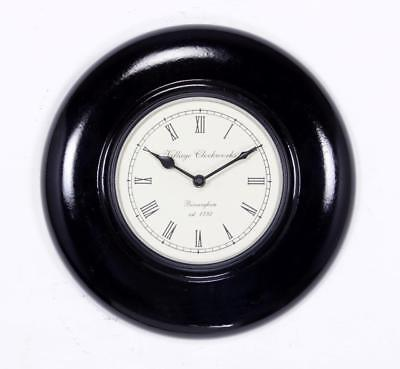 """Antique Vintage Hand Made Ethnic Wooden Black Finish 12"""" Wall Clock-011"""
