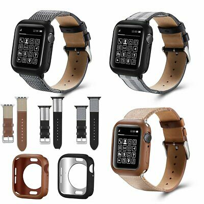 Genuine Leather Band Strap With protective case for Apple Watch Series4 40 44mm