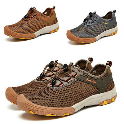 Mens Mesh Hiking Water Shoes Lace Up Walking Sneakers Non-Slip Breathable Casual