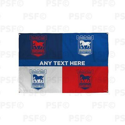 Ipswich Town FC Official Personalised ITFC Banner Four Crest Football Flag IB001