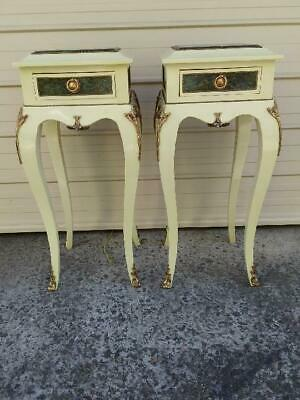 Pair Of French Louis Style Cream Mahogany Single Drawer Tables Green Marble Tops