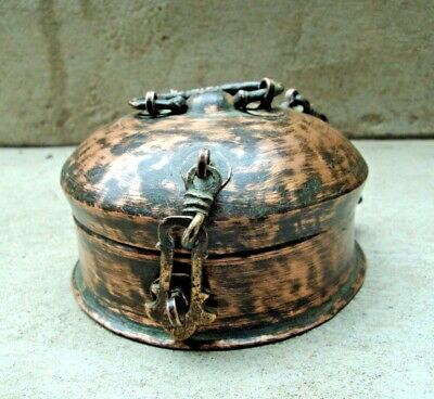 Old Copper Beautiful Shape Handcrafted Box, Beautiful small box, Rich Patina