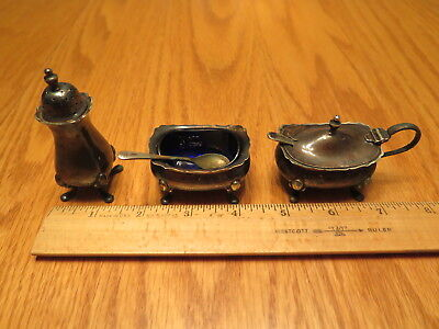 Grenadier 3 pc Condiment Set Silver Plated Salt Pepper Sugar Glass Liners Spoons