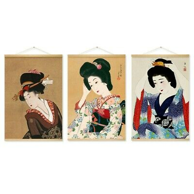 Japanese Geisha Hanging Scroll Painting Canvas Tapestry Wall Art Room Decor Home