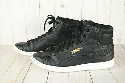 PUMA WOMENS VIKKY Mid High Top Sneaker Black Leather Gold