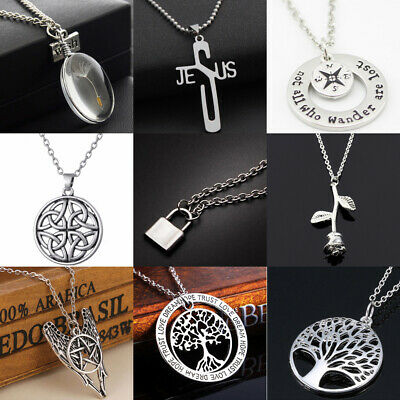 Vintage Cross Tree Of Life Pendant Chain Necklace For Men Women Jewelry Gifts