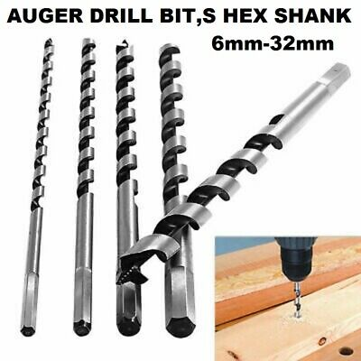 Auger wood drill Bits Hex Shank Various dia and Length 6mm-32mm Quality Steel