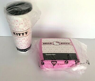 Tupperware Hello Kitty Lunch Set Quilted Sandwich Keeper & 16 oz Tumbler New