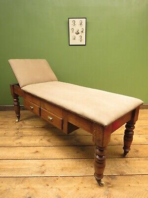 Victorian pitch pine Doctors Psychiatrists Couch Examination Table Leather top