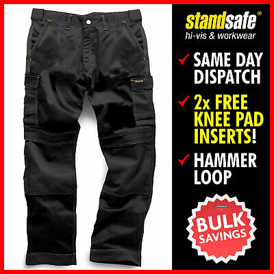 Mens Combat Cargo Work Trousers Heavy Duty Black Grey KNEE PAD POCKETS STANDSAFE