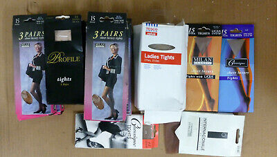 """15 Denier Sheer Luxury Plain Knit Tights Size XL with Back  Panel Gusset 54/"""" Hip"""