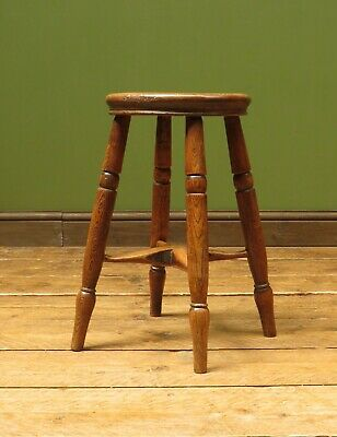Antique Victorian Country Elm Stool, West Country Stool with turned top