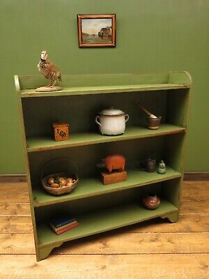 Large Painted Green Oak Shelves Bookcase Kitchen Shelves, Shabby Chic Rustic