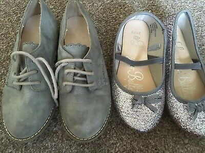 2 Pairs Of Girls Size Uk 11 Shoes In Silver Grey From Next & George