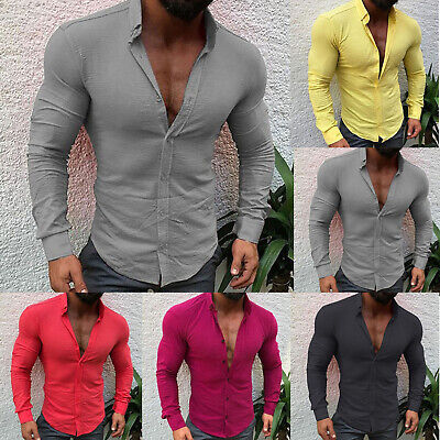 Mens Slim Fit Muscle Shirts Long Sleeve Casual Henley T-shirt Tops Blouse Henley