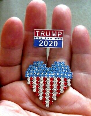 2 Great Pins - Trump 2020 Pin & USA Heart Flag Pin Covered In Rhinestones