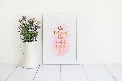 She Believed She Could So She Did - A4 FRAMED FOIL PRINT - Rose Gold & Baby Pink