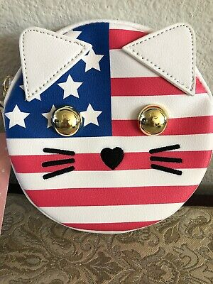 Betsey Johnson NEW Red White Blue CAT American Coin Purse Rare NWT 6""