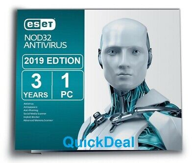 Instant  ESET NOD32 Antivirus 2019 1 PC, 3 Year - ESD - Key Only  - 100% Genuine