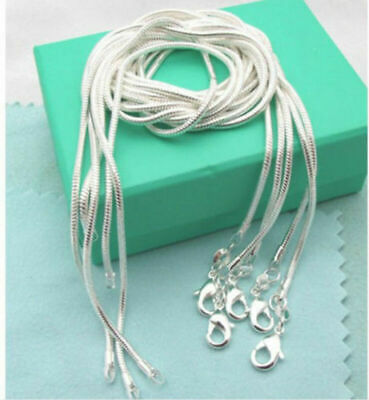 Fashion wholesale 925 Silver lots 5pcs 1mm snake chain Necklace 16-30inch