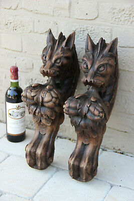 XXL Antique  PAIR oak wood carved hunting table dragon gothic legs figurines n2