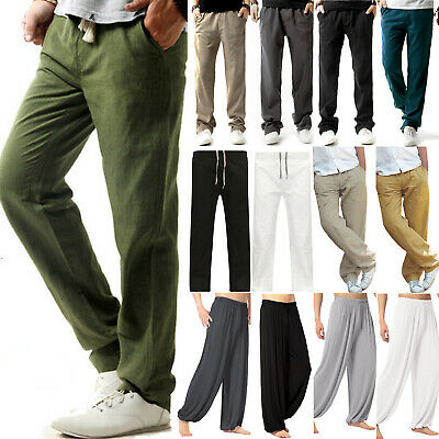 Mens Casual Palazzo Straight Trousers Summer Yoga Sports Wide Leg Pants Bottom