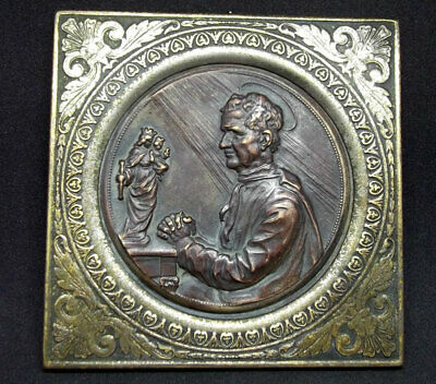 Italy C1900´S Old John Bosco Pray To Mary Help Of Christians Stand Desk Plaque