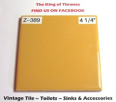 "Z-389 1 Pc Vintage Ceramic Floor Wall Tile 4 1/4"" Gold Butterscotch Reclaimed"