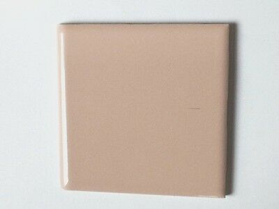 "z-775) 1 Pc Vintage Ceramic Floor Wall Tile Bullnose 4 5/16"" Pinkish Beige Nude"