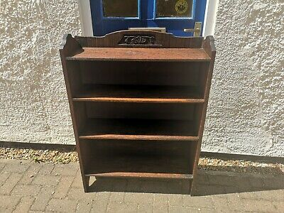 Antique vintage early 20th century Arts and Crafts Oak open bookcase