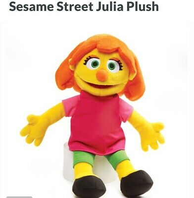 NEW PLUSH JULIA SESAME STREET MUPPET DOLL WITH AUTISM AUTISTIC 14 inches