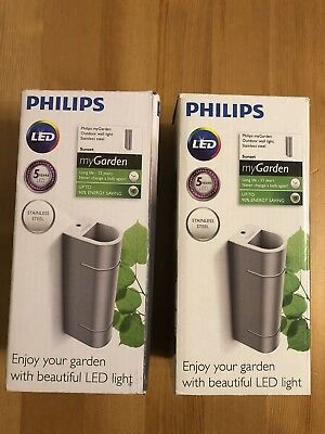2X PHILIPS Sunset Stainless Steel Wall light Outdoor lighting LED 173124716