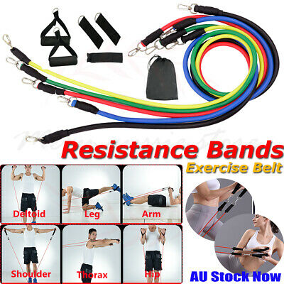 Resistance Bands Workout Handles Ankle Straps 11X Exercise Yoga Fitness Tubes AU