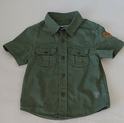 Genuine Kids by OshKosh short Sleeve Boys Button-Up green Shirt Size 3T