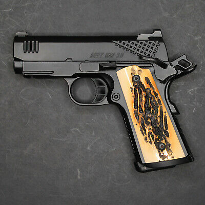 DURAGRIPS - Compact Officers 1911 Colt Kimber Springfield RIA Grips - FAUX STAG