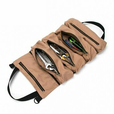 Super Tool Roll Large Wrench Big Tool Roll Up Bag Canvas Tool Organizer gg