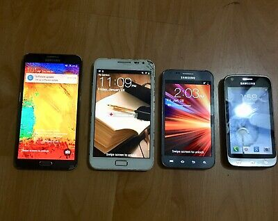 Lot Of 3 Used Samsung Phones, Galaxy Note, Galaxy Victory, Galaxy S2