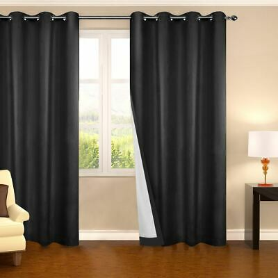 2 PCS Textured Blockout Curtain Room Darkening Fabric Eyelet Noise Reduction