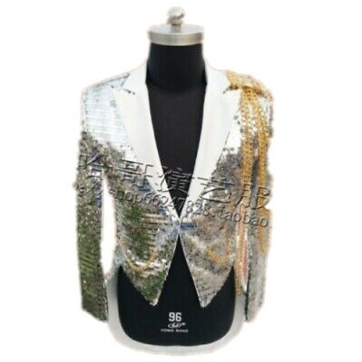 Mens Nightclub Dance Emcee Metal Chain Glitter Sequins Swallow-tailed Coat Jacke