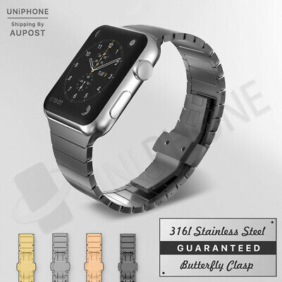 【Butterfly Buckle】Apple Watch Band Stainless Steel Strap For iWatch Series 4321