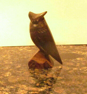 """Owl Hand Carved Ironwood Wood Carving Animal Sculpture 5 3/4"""" Tall"""