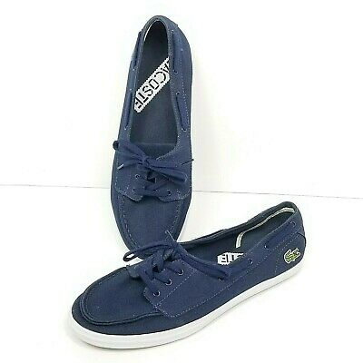 b9fa3dd5fcf65 Lacoste Ziane Deck Canvas Boat Shoes Womens Size 9 Navy Blue Slip On Lace Up