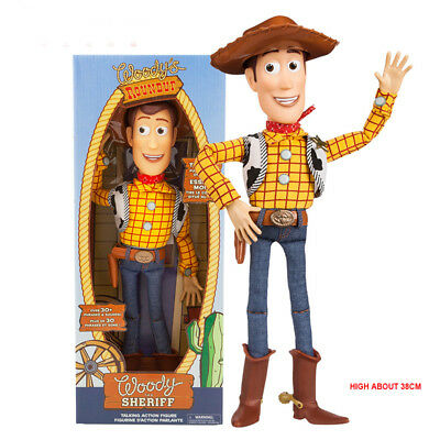 2019 New Toy Story 4 Deluxe Talking Woody Doll Action Figure 38cm Toy Detector