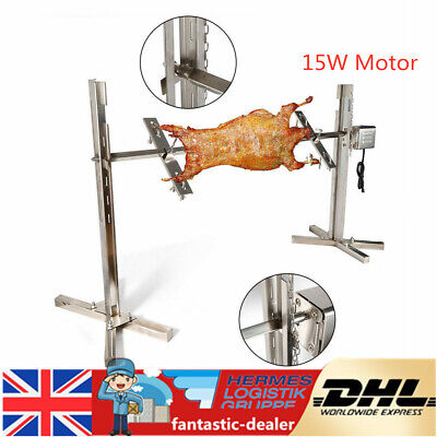 15W Electric BBQ Spit Grill Rotisserie Barbecue Chicken Roaster for Bar Camping