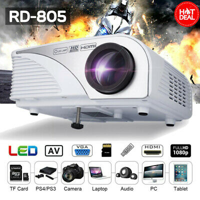 1080P HD Mini 3D Projector LED Multimedia Home Theater Cinema AV USB VGA HDMI