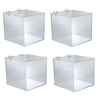 Acrylic Clear Cube Bin 8W x 8D x 8H Inches For Pegboard and Slatwall- Pack of 4