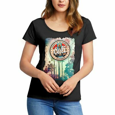 A814B Womens Scoop T-Shirt Cali Art California Abstract County Los Angeles Palms