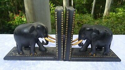 1950's Vintage Carved African Ebony Elephant Bookends