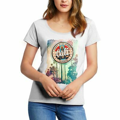 A814W Womens Scoop T-Shirt Cali Art California Abstract County Los Angeles Palms
